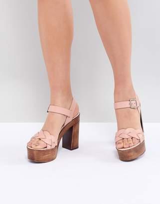 Asos DESIGN Troop Leather Plaited Heeled Sandals