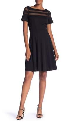 Sandra Darren Boatneck Sheer Paneled Dress