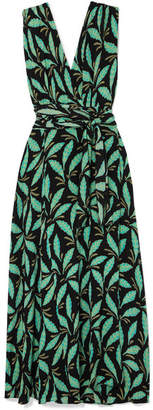 Diane von Furstenberg Printed Silk Crepe De Chine Maxi Dress - Green