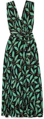 Diane von Furstenberg Printed Silk Crepe De Chine Maxi Dress - Green