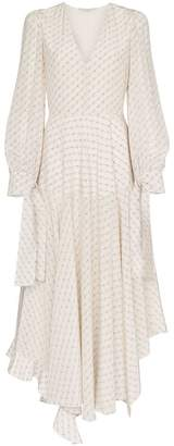 Stella McCartney V neck logo print silk maxi dress