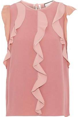 Alexis Ruffle-Trimmed Color-Block Crepe Top