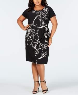 Robbie Bee Plus Size Printed Side-Tie Dress