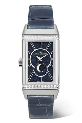 Jaeger-LeCoultre Reverso One Duetto Moon 20mm Stainless Steel, Alligator And Diamond Watch - Silver