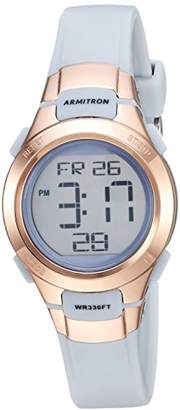 Armitron Sport Women's 45/7012PBL Rose Gold-Tone Accented Digital Chronograph Powder Blue Resin Strap Watch