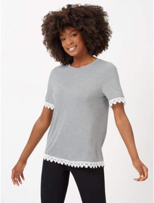 George Marl Grey Crochet Trim Top