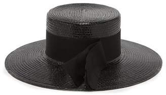 Saint Laurent Grosgrain Trim Straw Boater Hat - Womens - Black
