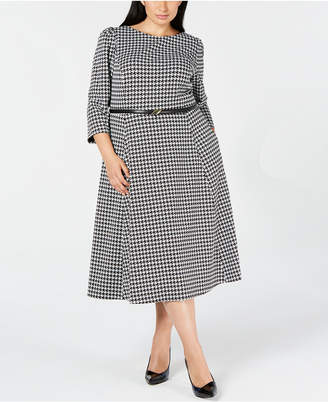 Calvin Klein Trendy Plus Size Belted Fit & Flare Dress