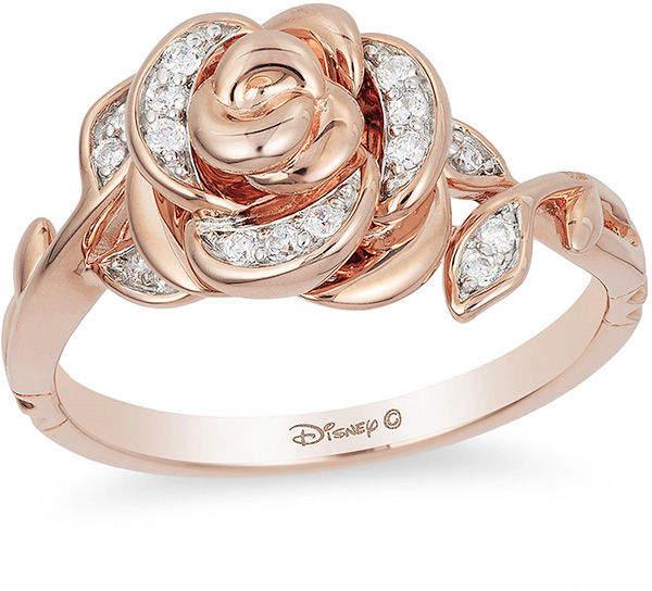 Enchanted Disney Belle 1/10 CT. T.W. Diamond Rose Ring in 10K Rose Gold