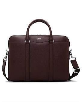 HUGO BOSS Signature Embossed Leather Single Zip Briefcase