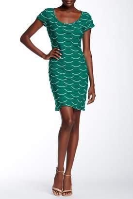 Max Studio Scoop Neck Cap Sleeve Textured Dress