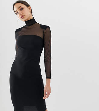 John Zack Tall mesh sleeve bodycon dress in black