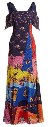 Mary Katrantzou Canasta Floral And Polka Dot Fil Coupe Gown - Womens - Multi