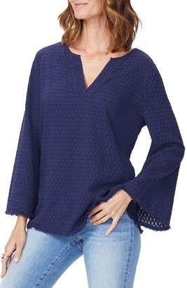 NYDJ Frayed Edge Bell Sleeve Top