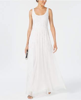 Adrianna Papell Scoop-Neck Beaded Trellis Gown