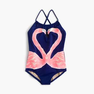 Girls' one-piece swimsuit in kissing flamingos $55 thestylecure.com