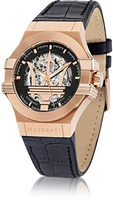 Maserati Potenza Auto Black Dial and Leather Strap Rose Gold Tone Men's Watch
