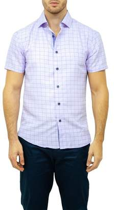 BC Collection Windowpane Short Sleeve Modern Fit Shirt