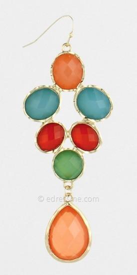 ZAD Pastel Stone Drop Earrings