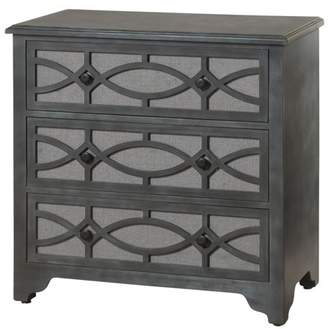 Generic 3-Drawer Fabric-Covered Wood Overlay Cabinet - Light Grey Exterior