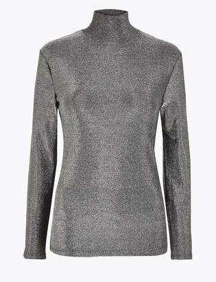 M&S CollectionMarks and Spencer Metallic Long Sleeve Top