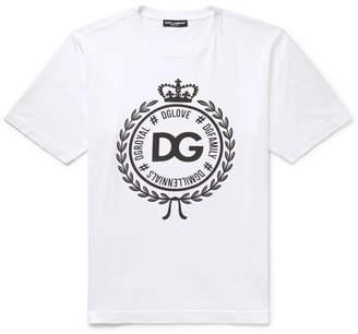 Dolce & Gabbana Logo-Print Cotton-Jersey T-Shirt - Men - White
