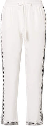 Marie France Van Damme - Embroidered Silk Crepe De Chine Straight-leg Pants - White