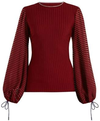 Roksanda Saida Semi Sheer Ribbed Top - Womens - Burgundy