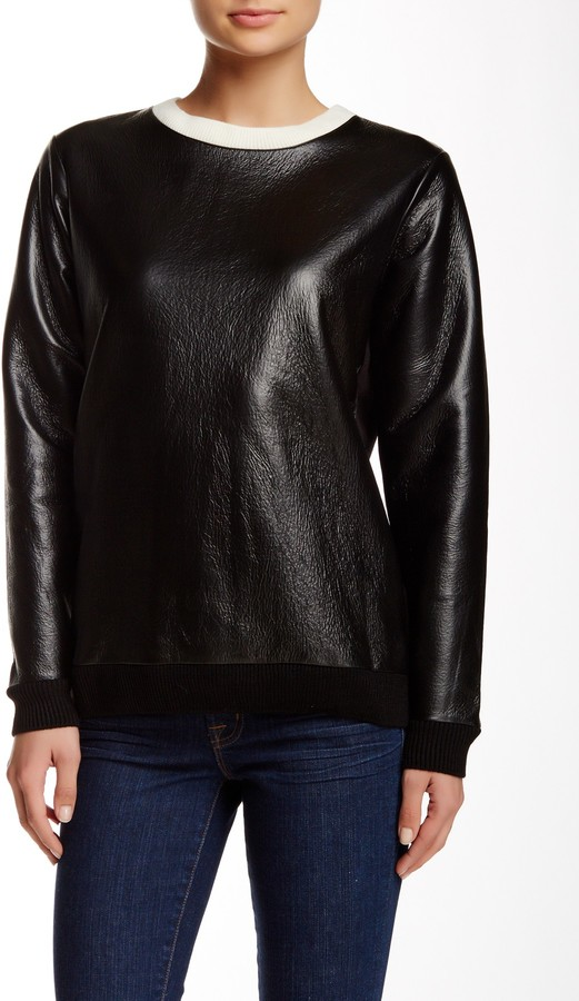 French Connection Faux Leather Top 3