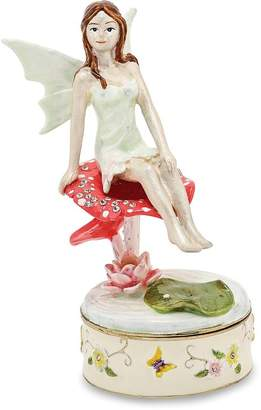 Jere Collections Bejeweled Pewter Enamel Fairy Trinket Box