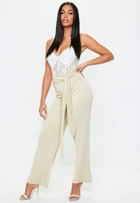 Missguided Stone Slinky Belted Pants