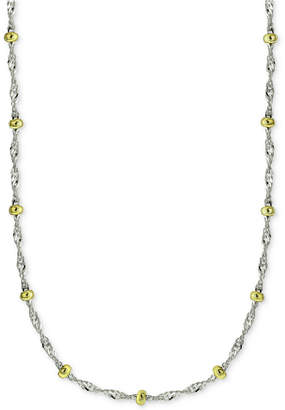 "Giani Bernini 18"" Beaded Singapore Chain Necklace in Sterling Silver & 18k Gold-Plate, Created for Macy's"