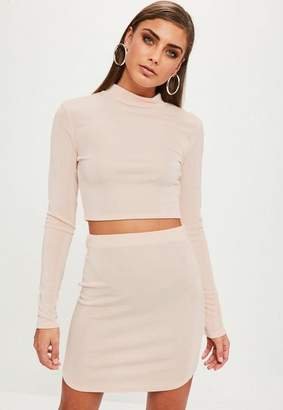 Missguided Pink Slinky Curved Hem Skirt