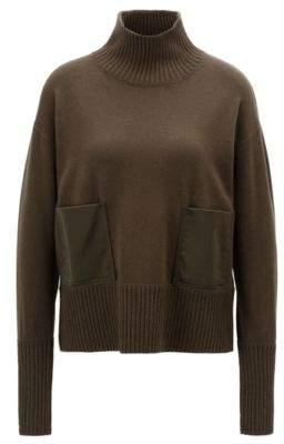 BOSS Hugo Wool-blend sweater patch pockets & funnel neck L Open Green