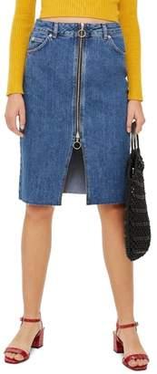 Topshop Zip-Through Denim Midi Skirt