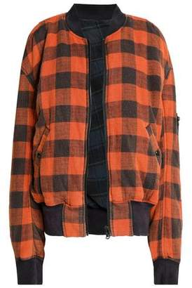 R 13 Reversible Checked Cotton-Flannel Bomber Jacket