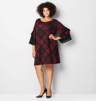 Avenue Plaid Ruffle Sleeve Sheath Dress