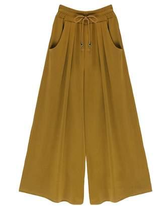 Johe Women's Casual Drawstring Elastic Waist Wide Leg Palazzo Pants