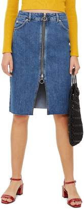Topshop Zip-Through Denim Midi Skirt