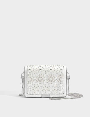 MICHAEL Michael Kors Jade Medium Gusset Clutch in Optic White Flower Embroidered Smooth Vegetable Leather