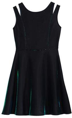 Us Angels Girls' Iridescent Split-Strap Dress - Big Kid