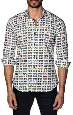 Jared Lang Trim-Fit Graphic Button-Down Shirt
