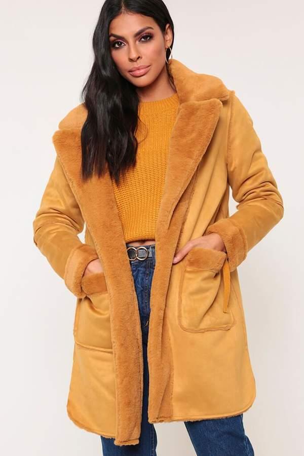 Isawitfirst Mustard Faux Fur Reversible Aviator Coat