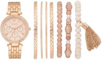Folio Women S Crystal Watch Bracelet Set