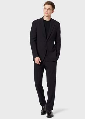 Giorgio Armani Slim-Fit, Half-Canvas Suit From The Soho Range In Seersucker Fabric