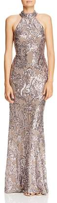 Aqua Sequined Damask Gown - 100% Exclusive