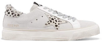 Golden Goose Superstar Distressed Leopard-print Calf Hair And Suede Sneakers - White