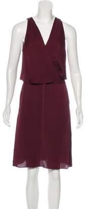 Theory V-Neck Silk Midi Dress