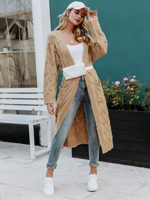 Shein Simplee Open Front Cable Knit Longline Sweater Cardigan