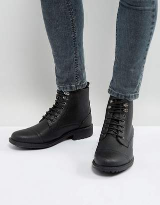 Brave Soul Milled Lace Up Boots In Black